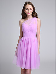 A-Line One Shoulder Knee Length Tulle Bridesmaid Dress with Side Draping Ruching by LAN TING BRIDE®