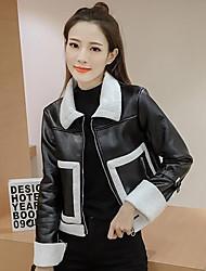 Damen Solide Einfach Lässig/Alltäglich Lederjacken Langarm Schwarz PU