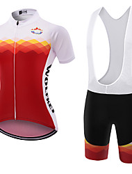 abordables -WOLFKEI Maillot de Ciclismo con Shorts Bib Mujer Manga Corta Bicicleta Sets de Prendas Secado rápido A prueba de polvo Listo para vestir