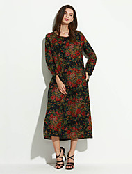 cheap -Women's Floral /Red/Navy Blue Dress , Casual/Print/Maxi/Plus Sizes Fashion Ethnic Print Long Sleeve (Linen/Cotton)
