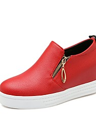 cheap -Women's Shoes Leatherette Spring Summer Fall Loafers & Slip-Ons Wedge Heel Platform Round Toe Zipper For Casual Office & Career Dress