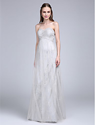 cheap -Sheath / Column Sweetheart Floor Length Lace Tulle Bridesmaid Dress with Criss Cross Ruching by LAN TING BRIDE®