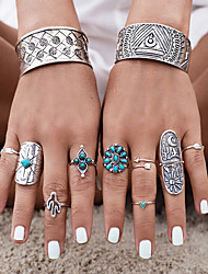 cheap -Women's Turquoise Turquoise / Alloy Flower - Geometric Personalized / Carved / Fashion Silver Ring For Party / Daily / Casual