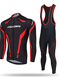 cheap -XINTOWN Cycling Jersey with Bib Tights Men's Long Sleeves Bike Jersey Bib Tights Pants / Trousers Tracksuit Zip Top Fleece Jacket Top