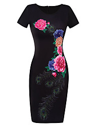 Women's Casual/Daily Formal Party Sexy Bodycon Dress,Floral Round Neck Knee-length Short Sleeve Black Cotton Polyester Summer