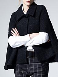 Cape / Capes Femme,Couleur Pleine Décontracté / Quotidien / Vacances Vintage / Sophistiqué Sans Manches Noir Coton / Polyester Epais