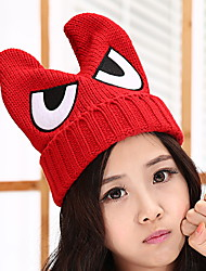 Unisex Leisure College Wind Eye Embroidery Demon Horns Ear Knitting Wool Cap