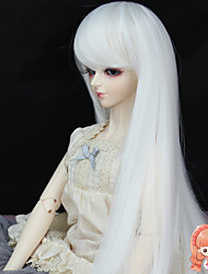 Synthetic 37cm Long Straight White Color for 1/3 1/4 Bjd SD DZ MSD Doll Wig Accessories Not for Human Adult