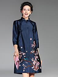 Damen Stickerei Chinoiserie Lässig/Alltäglich Mantel,Herbst / Winter Ständer ¾-Arm Blau / Rot / Grün Polyester