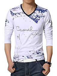 Men's Casual V-Neck Print Long Sleeve T-Shirts (Cotton/Polyester)