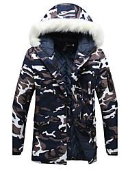 abordables -Homme camouflage Quotidien Sports Rétro Décontracté Longue Parka, Manches Longues Coton Polyester