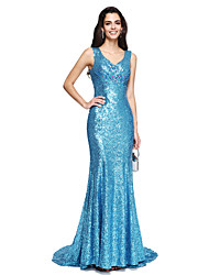 cheap -Sheath / Column V-neck Sweep / Brush Train Sequined Formal Evening Dress with Beading Pleats by TS Couture®