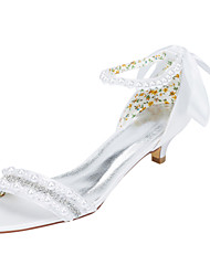 cheap -Women's Heels Spring / Fall Others Stretch Satin Wedding / Party & Evening / Dress Kitten Heel Crystal / Pearl Ivory / White Others