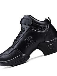 "cheap -Women's Dance Sneakers Leather Heel Practice Rivet Chunky Heel Black 4"" & Up Non Customizable"