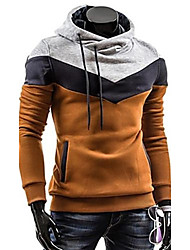 cheap -Men's Plus Size Color Block Sport Casual Hoodie, Gray Brown Blue Black