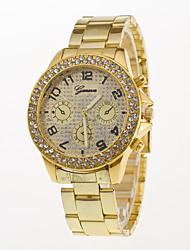 Homens Relógio de Moda Relógio de Pulso Simulado Diamante Relógio Quartzo / Aço Inoxidável Banda Casual Prata Dourada Ouro Rose