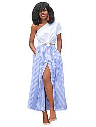 Women's Blue White Stripes Button Front Maxi Skirt