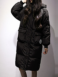 Women's Long Down Coat,Simple Casual/Daily Letter-Others White Duck Down Long Sleeve