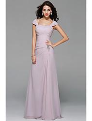 uma linha de vestido de dama de honra chiffon de comprimento do chão do ombro com beading draping by myf