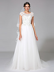 A-Line Jewel Neck Court Train Tulle Wedding Dress with Beading Appliques by LAN TING BRIDE®