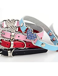 cheap -Dog Collar Adjustable / Retractable Hearts Rhinestone Mosaic PU Leather Black Red Blue Pink