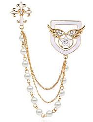 cheap -Korean Women Alloy Pearl Cross Star Badge Brooch Angel Wings Brooch