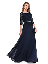 cheap -A-Line Jewel Neck Floor Length Chiffon Lace Mother of the Bride Dress with Beading Sash / Ribbon by LAN TING BRIDE®