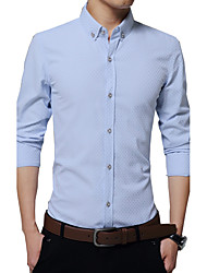 cheap -Men's Vintage Casual Street chic Cotton Shirt - Solid Colored