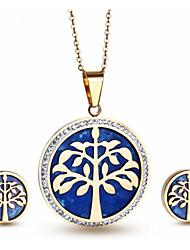 Damen Schmuckset Strass vergoldet 18K Gold Baum des Lebens 1 Halskette 1 Paar Ohrringe Für Party Alltag Normal Hochzeitsgeschenke