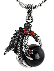cheap -Punk Style Pendant Charm Necklace 316L Stainless Steel Retro Carving Dragon Claw Shape Agate Jewelry