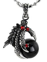 панк-стиль кулон ожерелье шарма нержавеющей стали 316l ретро резьба дракона коготь форма агата ювелирных изделий
