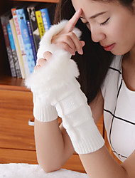 Women's Simple Fuzzy Geometric Knitwear Elbow Length Half Finger Cute/ Party/ Casual Winter Gloves