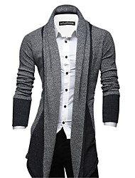 cheap -Men's Daily Long Cardigan,Striped Long Sleeves Polyester
