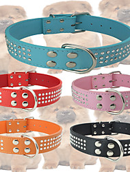 cheap -Dog Collar Adjustable / Retractable Mosaic Rhinestone PU Leather Black Orange Red Blue Pink