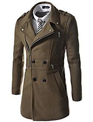 cheap -Men's Daily Casual CoatSolid Shirt Collar Long Sleeve Fall / Winter Blue / Black / Brown / Green Wool / Cotton Medium k301