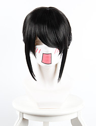 Women Synthetic Cosplay Wigs Your name Miyamizu Clover Black Ponytail With Red Ribbon Costume Wig Heat Friendly Fiber
