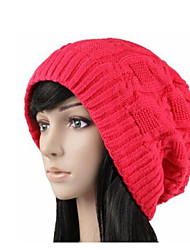 cheap -Women's Knitwear Beanie/Slouchy,Casual Solid Winter Fall Black Yellow Red Pink