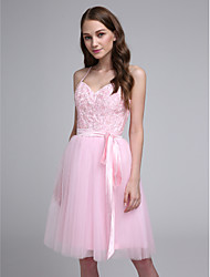 cheap -A-Line Spaghetti Straps Knee Length Tulle Bridesmaid Dress with Beading Appliques Sash / Ribbon by LAN TING BRIDE®