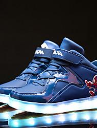 Para Meninas-Tênis-Conforto Primeiros Passos Light Up Shoes-Salto Baixo-Preto Rosa Branco Azul Real-Couro-Ar-Livre Casual Para Esporte