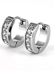 cheap -Fashion CZ Stones Inlaid 316L Stainless Steel Hoop Earring