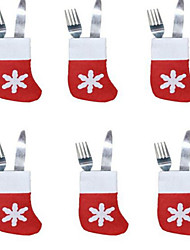cheap -6PCS Christmas Socks Cutlery Tray Little Socks Nativity Sets Decoration