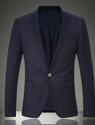 Men's Daily / Work / Party/Cocktail Vintage / CasualPrint / Color Block Shirt Collar Long Sleeve Fall / Winter Blue / GrayWool /