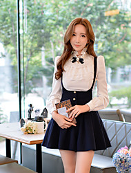 DABUWAWA Women's Bow Going out / Casual/Daily / Party Vintage / Cute / Sophisticated Spring / Fall Shirt,Solid Stand Long Sleeve White