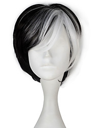 cheap -101 Dalmatians Women Synthetic Short Straight Black Color White Highlight Cosplay Costume Party Wig