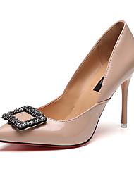 Hæle-PU-Komfort-Dame-Sort Mandel-Fritid-Lav hæl