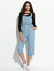 economico -Da donna A vita medio-alta Casual Moda città Anelastico Jeans Tuta da lavoro Pantaloni,Tinta unita Cotone Estate
