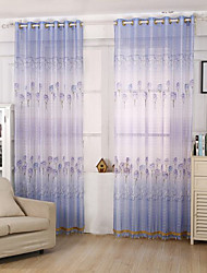 cheap -Rod Pocket One Panel Curtain Modern, Print Flower Kids Room Poly / Cotton Blend Material Sheer Curtains Shades Home Decoration
