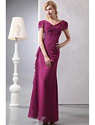 vaina / columna v-cuello piso longitud gasa madre del vestido de novia con rebordear por xfls