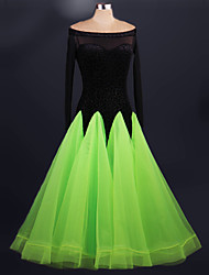 cheap -Ballroom Dance Dresses Performance Spandex Organza Draping Lace Long Sleeves High Dress