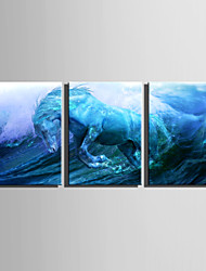 E-HOME Stretched Canvas Art The Sea A Galloping Horse Decoration Painting  Set Of 3